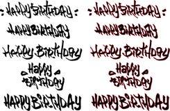 Il testo disegnato a mano di buon compleanno ha etichettato con le fonti dei graffiti Fotografia Stock