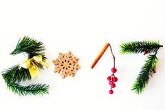 il testo 2017 fatto con il pino verde, la cannella ed il natale dorato giocano Fotografie Stock Libere da Diritti