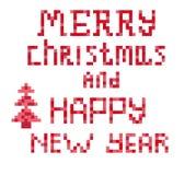 Il testo rosso del mosaico di Natale è scritto Fotografia Stock