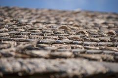 Il tetto di legno della tremula imbarca per la casa di ceppo al sole Fotografia Stock Libera da Diritti