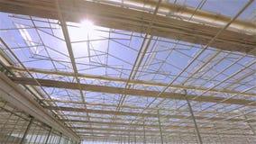 Il tetto di vetro di grande serra Il tetto della costruzione moderna dal fondo, il tetto automatico in video d archivio