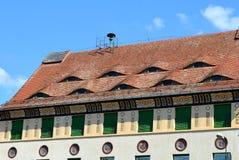 Il tetto osservato in Sighisoara Immagini Stock
