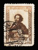Il 100th anniversario della nascita del pittore russo famoso I Repin, circa 1944 Fotografie Stock Libere da Diritti