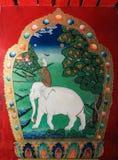 Il Tibet, Cina-giugno 15,2014; Pittura murala tibetana nominata Harmony di fotografia stock