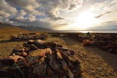 Il Tibet nel tramonto Fotografia Stock Libera da Diritti
