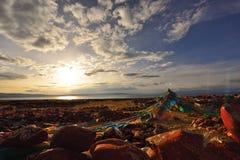 Il Tibet nel tramonto Immagine Stock