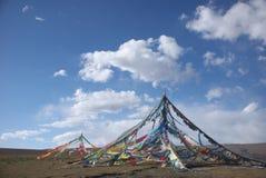 Il tibetano prega le bandierine Immagine Stock Libera da Diritti