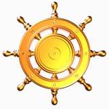 Il timone nautico 3d rende la progettazione su fondo bianco Fotografia Stock Libera da Diritti