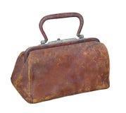 Il tipo borsa di medico di cuoio anziano isolata Immagini Stock Libere da Diritti