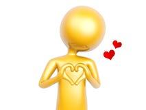 Il tipo dorato fa il simbolo di amore del cuore con le mani isolate su bianco Immagini Stock