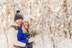 Il tipo e la ragazza hanno un resto nel legno dell'inverno fotografia stock