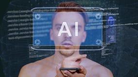 Il tipo interagisce ologramma AI di HUD archivi video