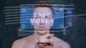 Il tipo interagisce ologramma di HUD risparmia i soldi stock footage