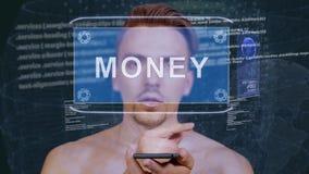 Il tipo interagisce soldi dell'ologramma di HUD archivi video