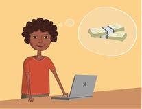 Il tipo nero afroamericano vicino al computer portatile pensa  Fotografia Stock Libera da Diritti