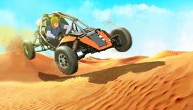 Il tipo sul carrozzino nel deserto Immagine Stock