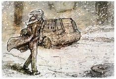 Il tipo triste va lungo la strada Fotografia Stock