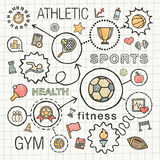 Il tiraggio della mano di sport ha integrato le icone di colore messe Fotografie Stock