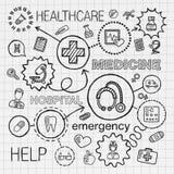 Il tiraggio medico della mano ha integrato le icone messe Schizzo di vettore illustrazione vettoriale