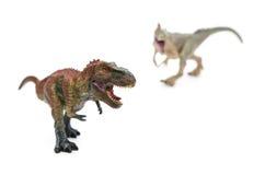 Il tirannosauro nella parte anteriore e l'allosauro sopra appoggiano sul fuoco selettivo del fondo bianco Fotografia Stock Libera da Diritti
