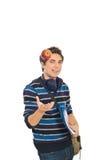 Il tirante freddo dell'allievo getta in su la mela Fotografie Stock
