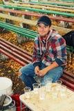 Il tirante in una camicia checkered fotografia stock
