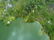 Il tiro aereo del canyon di Ranong, si rilassa il posto nella provincia di Ranong, S Immagini Stock