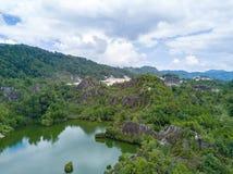 Il tiro aereo del canyon di Ranong, si rilassa il posto nella provincia di Ranong, S Fotografie Stock