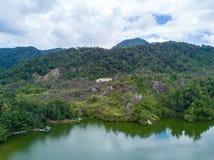 Il tiro aereo del canyon di Ranong, si rilassa il posto nella provincia di Ranong, S Fotografia Stock Libera da Diritti