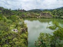 Il tiro aereo del canyon di Ranong, si rilassa il posto nella provincia di Ranong, S Immagine Stock