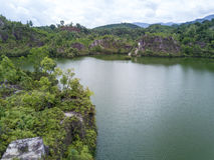 Il tiro aereo del canyon di Ranong, si rilassa il posto nella provincia di Ranong, S Fotografia Stock