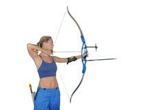 Il tiro con l'arco di sport recurve la fucilazione Fotografie Stock