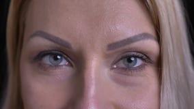 Il tiro del primo piano del mezzo ha invecchiato il fronte femminile caucasico con gli occhi grigi che esaminano diritto la macch video d archivio