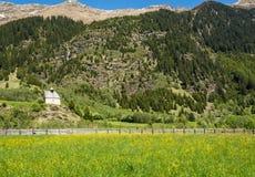 Il Tirolo del sud, valle di Ridnaun Piccola cappella nelle montagne nel verde fotografia stock libera da diritti