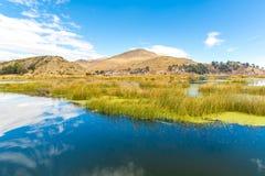 Il Titicaca, Sudamerica, situato sul confine del Perù e della Bolivia. Si siede 3.812 m. sopra il livello del mare Fotografia Stock Libera da Diritti