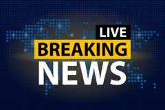 Il titolo di Live Breaking News in blu ha punteggiato il fondo della mappa di mondo Illustrazione di vettore royalty illustrazione gratis