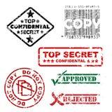 Il top secret ed altro timbra Immagini Stock