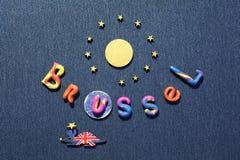Il topo britannico ha trascinato la stella dalla bandiera di Unione Europea Fotografia Stock Libera da Diritti