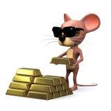 il topo 3d accumula l'oro Immagine Stock