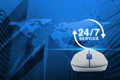 Il topo senza fili del computer con il bottone 24 ore assiste l'icona sopra la m. Immagini Stock