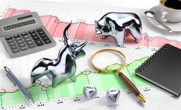 Il toro e riguarda il mercato azionario da tavolino Fotografia Stock Libera da Diritti