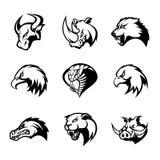Il toro, rinoceronte, lupo, aquila, cobra, alligatore, pantera, testa del verro ha isolato l'insieme di concetto di logo di vetto Immagini Stock