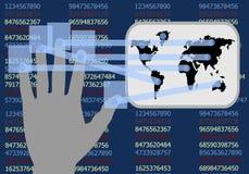 Il touch screen della mano mostra lo sviluppo dei commerci illustrazione di stock