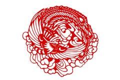 Il tradizionale documento-ha tagliato Phoenix cinese Immagini Stock