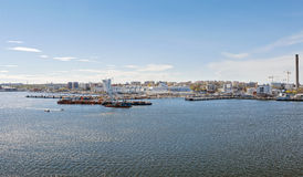 Il traghetto Silja Line è attraccato durante il giorno nella città di Sto fotografie stock libere da diritti
