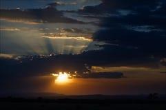 Il tramonto africano. Fotografie Stock