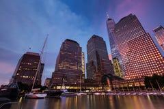 Il tramonto al posto di Brookfield nel parco di batteria, New York si è unito immediatamente Fotografie Stock