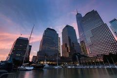 Il tramonto al posto di Brookfield nel parco di batteria, New York si è unito immediatamente Fotografia Stock Libera da Diritti