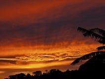 Il tramonto d'ardore si rannuvola la cresta della montagna fotografia stock libera da diritti