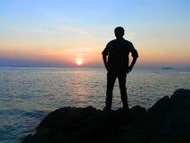 Il tramonto del mare dell'Indonesia fotografia stock libera da diritti